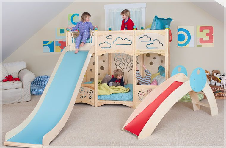 Play beds for kids bedroom design by cedarworks bunk bed and slide jpg